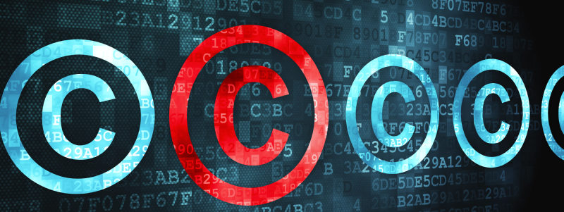 Law concept: pixelated Copyright icon on digital background, 3d render